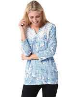 Susan Graver Womens Printed Sweater Knit Top with Lace Trim Plus 1X Blue A347086
