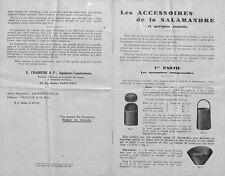 """NOTICE """" LES ACCESSOIRES DE LA SALAMANDRE """" CHAUFFAGE POELE PUBLICITE 1928"""
