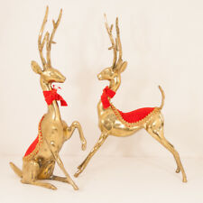 "Pair Vintage Brass Christmas Reindeer w/ Red Velvet Coat and Bow 13"" tall"
