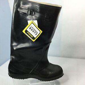 """LACROSSE Rubber Boots 17""""  Sz 10 Overshoe Black Slip On Work Farm Outside New"""