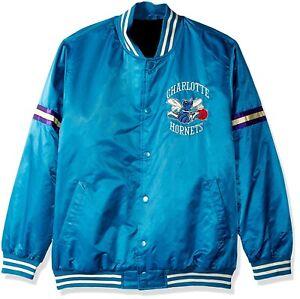 """CHARLOTTE HORNETS STARTER """"LEGACY"""" Satin BLUE Rib Knit Bomber men jacket"""
