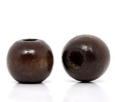 1000 Kaffeebraun Gefärbt Rund Holz Spacer Perlen Beads