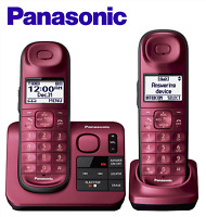 Panasonic KX-TGL432R Expandable Cordless Phone Answering Machine Red 2 Handsets