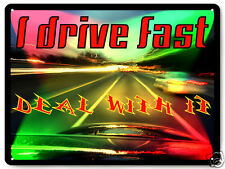 Fast car funny METAL sign auto street racing retro great gift wall decor 212