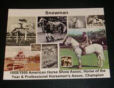 2 Diff POSTCARD +Magnet Snowman Champion Show Jumping Gelding 1958-59 Horse Year