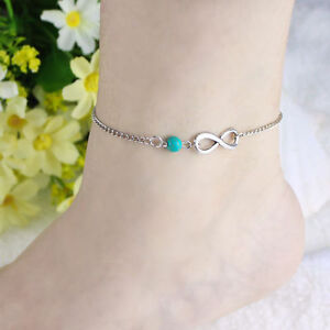 Silver Plated Infinity Anklet Turquoise Acrylic Bead Adjustable Free Gift Bag