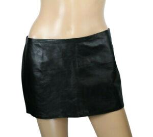 Claudio Milano Womens Mini Skirt Black Genuine Leather Size S Retail