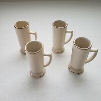 4 Vintage Ivory Irish with Gold Trim Coffee Mug Ceramic Pedestal Footed Set
