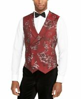 Tallia Mens Vest Red Size XL Metallic Floral Double Breasted Slim Fit $125 #008