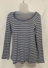 Ladies Women Girls Blue Grey Marl Long Sleeve Stripe Slouchy Top Size 6 New