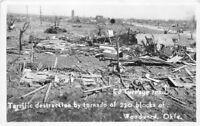 1940s Woodward Oklahoma RPPC Photo Postcard Tornado Destruction El Turnage 11852