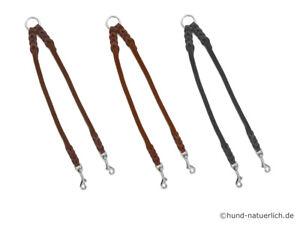 Fettleder Hundekoppel geflochten, Leder Koppel für 2 Hunde, Koppelleine Chrom