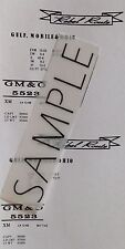The Rebel Route GM&O S Gauge Custom made Waterslide Decals in White color.