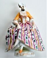 Antique Faceless Miniature Figure Figurine Marked D Rococo Hairstyle 7cm tall