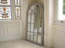 Grande in legno Incorniciato Arch stile di finestra, Specchio Antico Bianco / Grigio Effetto Anticato