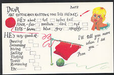 Greetings Postcard - Holiday Message Card - Not Getting Much Knitting Done A5864