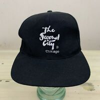 THE SECOND CITY CHICAGO - Vtg 1990s Black Snapback Comedy Club Hat Dad Cap