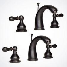 2x Oil Rubbed Bronze Widespread Roman Bathroom Bath Sink Faucet w/ Pop-Up Drain