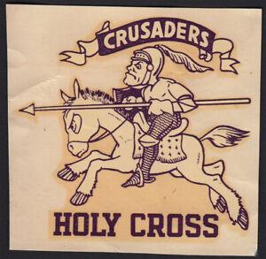 Holy Crusaders Crusaders _ RARE ORIG 1940's Decal VTG Worcester NCAA College Gem