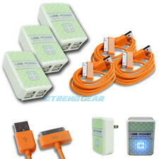 3X 4 USB PORT WALL ADAPTER+10FT CABLE POWER CHARGER ORANGE FOR IPHONE IPOD IPAD