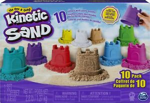 Kinetic Sand Castle 10-Colors 10-Moulds Pack Natural Sensory Moldable Sand Play