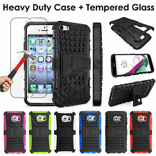 Shockproof 360 Protection Heavy Duty Case+Tempered Glass Cover For Mobile Phones