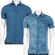 JACK & JONES JJV DALLAS Kurzarmhemd Freizeit Hemd Jeans-Blau gemustert 12121365