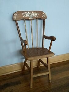 Vintage Oak Hill New Hampshire Children Toddler Chair Kitchen Dining not rocking