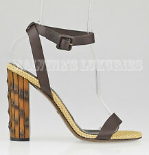 $795 GUCCI SHOES DAHLIA BAMBOO HEEL SANDALS BROWN LEATHER sz 37 / 7