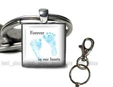Loss of Baby Forever in Our Hearts Blue Baby Feet Parents Glass Top Key Chain