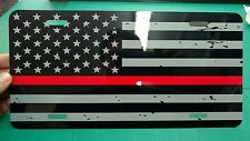 Black and Gray Distressed Thin Red Line American flag car tag license plate