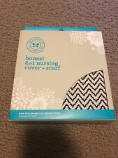 Brand New Honest Company 2 in 1 Nursing Cover and Scarf Organic Cotton ChevronBW