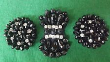 Millinery Black Beaded Assorted Applique Crystal Rhinestone For Hats Dress