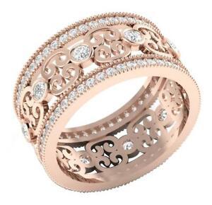 VS1 E Eternity Anniversary Ring Round Diamond 1.50 Ct Rose Gold Prong Bezel Set
