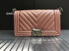 c7fd682cc6e8 NWT CHANEL Chevron Caviar Leather Boy Bag Pearly Dark Pink Old Medium 18A