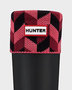 Hunter Tall Geometric Dazzle Boot Socks Damson/Watermelon Sz:M NWT/Boxed
