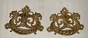 "Antique Brass Griffin Drawer Pulls Pair    1800s  6"" Wide"