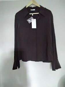 Artigiano Chocolate Silk Shirt / Blouse New / Tags 16 (44)