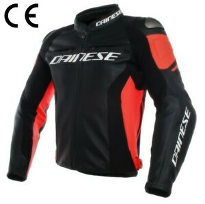 Dainese Racing 3 Leather Jacket BLACK/RED CE approved