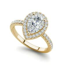 Pave Halo 1.2 Carat VVS1/D Pear Cut Diamond Engagement Ring Yellow Gold