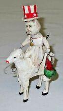 """Debbee Thibault Firecracker Cat On Sheep W White Dress 6.5"""" 4th of July Rear"""