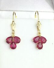 14k Solid Yellow Gold Leverback Small Cluster Dangle Earrings, Natural Ruby1.8CT