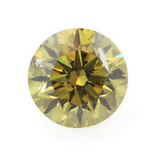 0.32 Carat Fancy Deep Yellow Green Loose Diamond Natural Color Certified Round