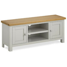 Farrow Grey TV Stand with Cupboards / Large Painted TV Unit / Solid Wood / Oak