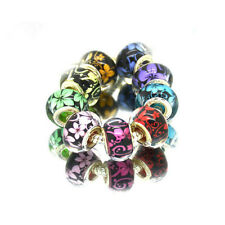 50pcs Mixed Orchid Murano Acrylic Charms Beads Fit European Charm Bracelet