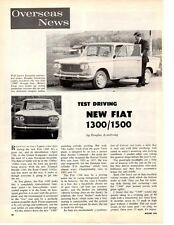 1961 FIAT 1300 / 1500 ~ ORIGINAL 2-PAGE ROAD TEST / ARTICLE / AD