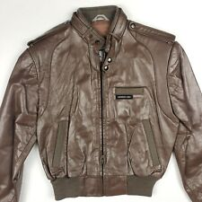 Members Only NWT Kids Boys Brown Genuine Leather Bomber Jacket Vintage Size 12