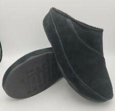 FitFlop Gogh Clog Women Size 10 Black Suede Slipon Mule Sandal Slide Fitnes Shoe