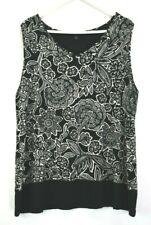 J.Jill Women Size 2X Plus Spring Summer Sleeveless Tank Blouse Top Floral Black