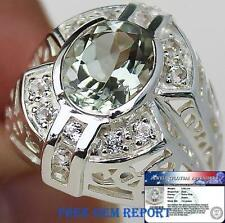 3.50 cts Green Amethyst & White Topaz Ring 100% Solid 925 Silver S7.5 ChunKY BIG